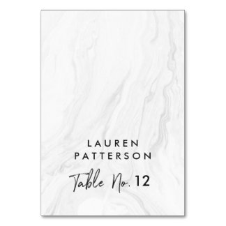 Modern White Marble Script | Wedding Place Card