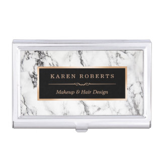 Modern White Marble Stone Texture Stylish Look Business Card Holder