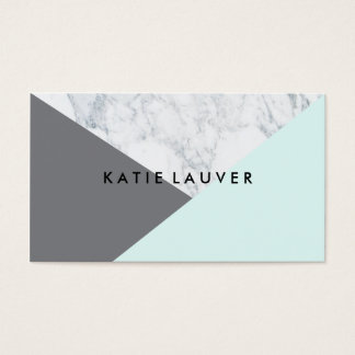 Modern white marble teal gray hue color block chic