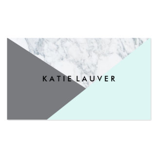 Modern white marble teal gray hue color block chic pack of standard business cards