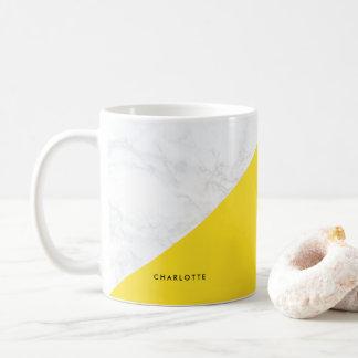 Modern White Marble with Yellow Block Mug