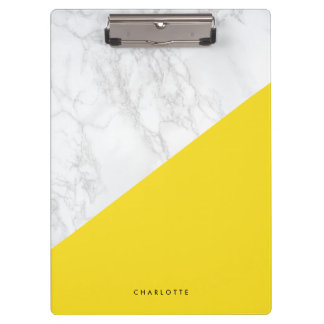 Modern White Marble with Yellow Block Personalized Clipboard