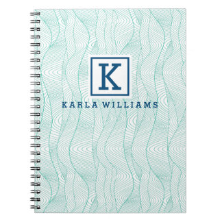 Modern White & Mint-Green Wavy Abstract Pattern Notebooks