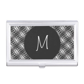 Modern White Monogram On Stylish Abstract Pattern Business Card Holder