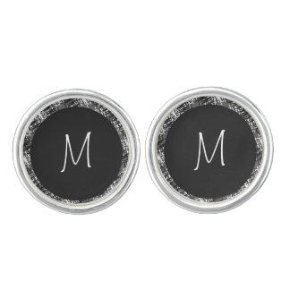 Modern White Monogram On Stylish Abstract Pattern Cuff Links