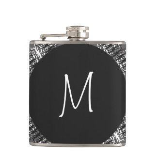 Modern White Monogram On Stylish Abstract Pattern Hip Flask