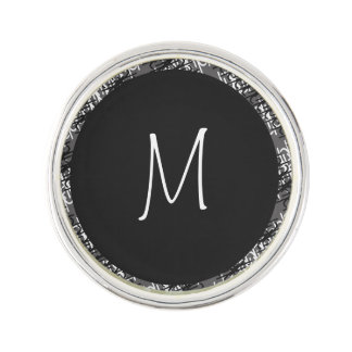 Modern White Monogram On Stylish Abstract Pattern Lapel Pin