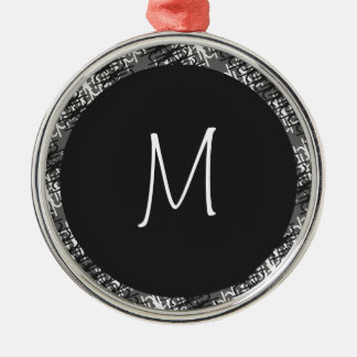 Modern White Monogram On Stylish Abstract Pattern Metal Ornament
