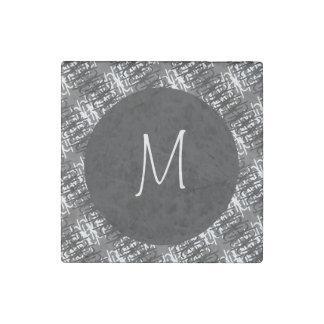 Modern White Monogram On Stylish Abstract Pattern Stone Magnet