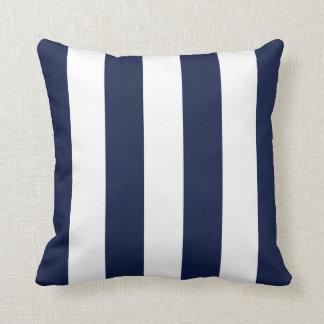 Modern White Navy Blue Stripes Pattern Pillow