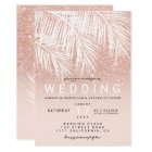 Modern white palm tree faux rose gold wedding card