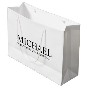 Modern White Personalised Groomsman Proposal Large Gift Bag