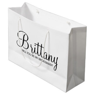 Modern White Personalized Bridesmaid Proposal Large Gift Bag