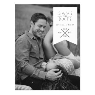 Modern White Ribbon   Save The Date Photo Postcard