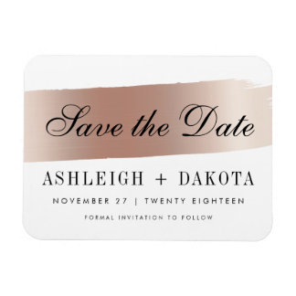Modern White Rose Gold Brush Stroke Save The Date Rectangular Photo Magnet