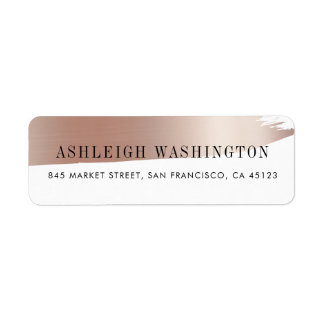 Modern White & Rose Gold Brush Stroke Wedding Return Address Label
