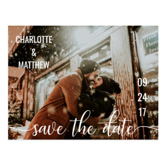 Modern White Script Wedding Save The Date w/ PHOTO Postcard