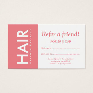 Modern White Sunny Pink Hair Makeup Refer a Friend Business Card