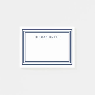 Modern White with Triple Navy Blue Borders Post-it® Notes