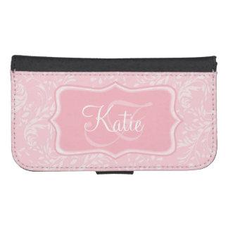 Modern wildflower damask pink cell flap wallet