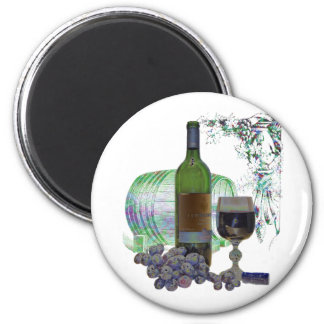 Modern Wine and Grapes Art 6 Cm Round Magnet