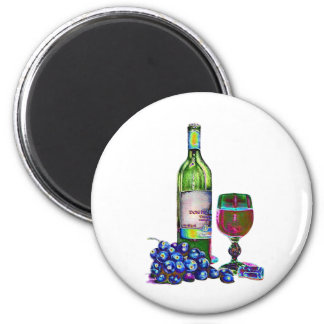 Modern Wine and Grapes Art Gifts 6 Cm Round Magnet