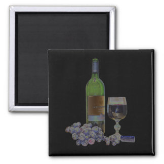 Modern Wine and Grapes Digital Art Refrigerator Magnets