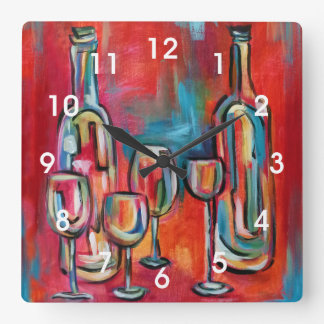 Modern Wine Bottles and Glasses Painting Wallclocks