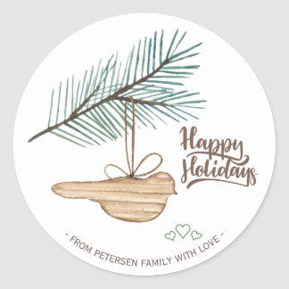 Modern winter forest wooden bird pine holidays classic round sticker