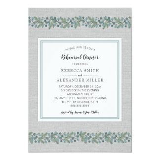 Modern Winter Greenery Rehearsal Dinner Invite
