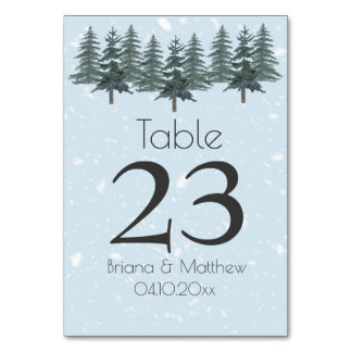 Modern Winter Pine Tree Table Card