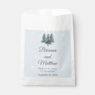 Modern Winter Pine Tree Wedding Favor Bag