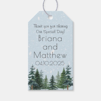 Modern Winter Pine Tree Wedding Favours Gift Tag