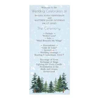 Modern Winter Pine Trees Wedding Program Rack Card