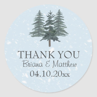 Modern Winter Pine Trees Wedding Sticker