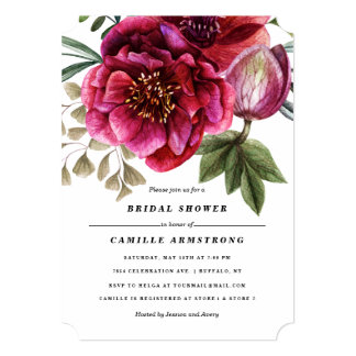 Modern Winter Red Flowers Bridal Shower Card
