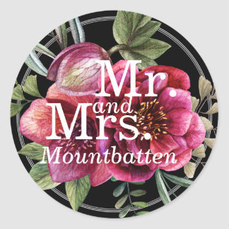 Modern Winter Red Flowers Wedding Favor Mr. Mrs. Classic Round Sticker