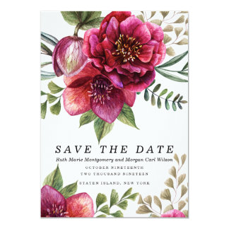 Modern Winter Red Flowers Wedding Invitation