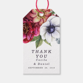 Modern Winter Red Flowers Wedding Thank You Favor Gift Tags