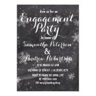 Modern winter snow chalkboard engagement dinner card
