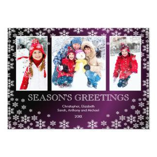 Modern Winter Snowflakes 3 Photo Greeting Card