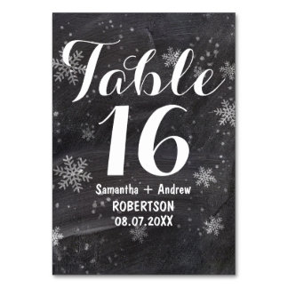Modern winter snowflakes chalkboard table number