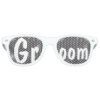 Modern winter snowflakes chalkboard wedding Groom Retro Sunglasses