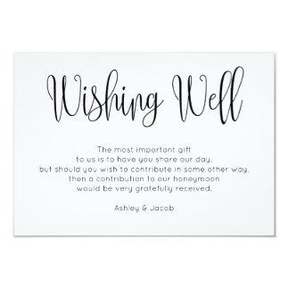 Modern wishing well simple. Script Wedding inserts Card