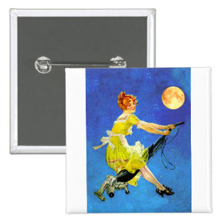 Modern Witch Rides a Vacuum 15 Cm Square Badge