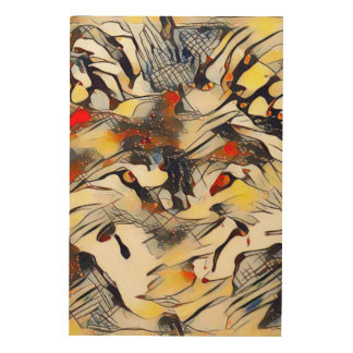 Modern Wolf Abstract Art Wood Canvas