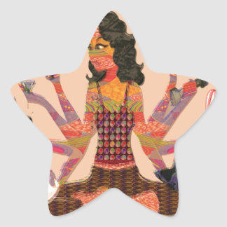 Modern Woman Goddess Hands Choices GIFT Cartoon 07 Star Stickers