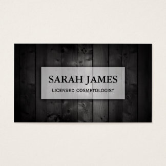 modern wood dark black hairstylist hair stylist business card