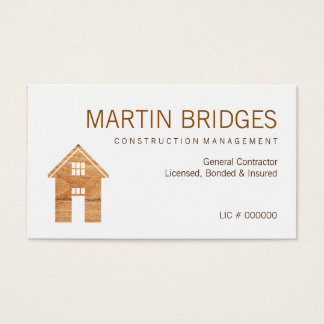 Modern Wood General Construction Business Cards