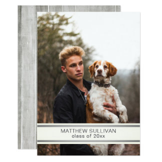 Modern Wood Look | Photo Graduation Party Card